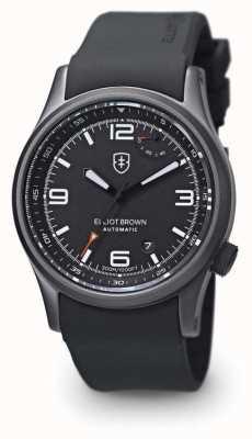 Elliot Brown Mens tyneham pulseira de borracha preta mostrador de discagem preta caseback 305-D01-R06