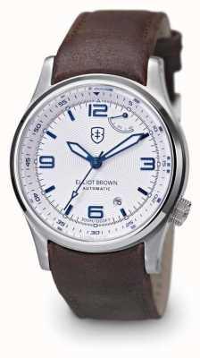 Elliot Brown Mens tyneham marrom couro branco mostrador de discagem caseback 305-D04-L14