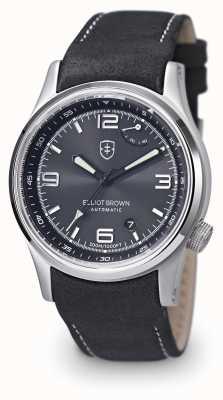 Elliot Brown Mens tyneham pulseira de couro preto mostrador preto 305-005-L15