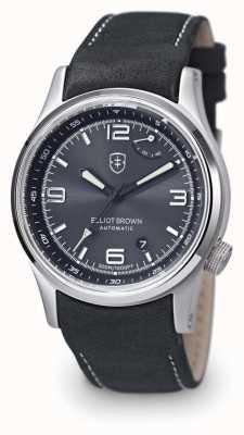 Elliot Brown Mens tyneham cinza couro preto mostrador de discagem caseback 305-D05-L15