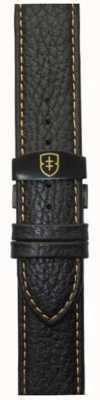 Elliot Brown Mens 22mm preto couro seixo deployant tan stitch strap STR-L11