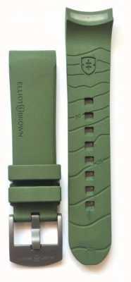Elliot Brown Mens 22mm verde borracha gunmetal fivela de língua apenas STR-R04