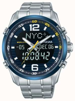 Pulsar Mens acelerador wrc tempo dual tempo mundial cronógrafo alarme PZ4003X1