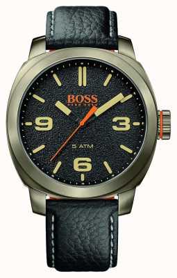Hugo Boss Orange Mens cape town pulseira de couro preto caso tom de ouro mostrador preto 1513409