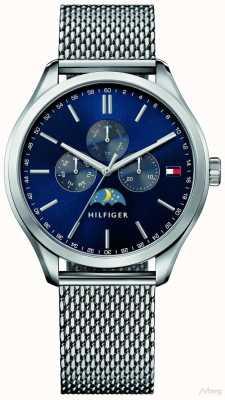 Tommy Hilfiger Mens oliver pulseira de malha de aço inoxidável azul dial 1791302