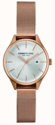 Kenneth Cole Dial de prata de malha de aço inoxidável de ouro rosa das mulheres KC10030842