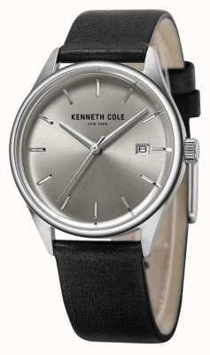 Kenneth Cole Mostrador prateado cinta de couro preto das mulheres KC10025930