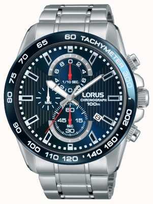 Lorus Mens chronogaph aço inoxidável mostrador azul RM375CX9