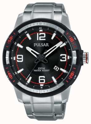 Pulsar Mens pulseira de aço inoxidável mostrador preto PS9475X1