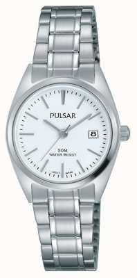 Pulsar Mostrador branco pulseira de aço inoxidável das mulheres PH7439X1
