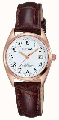 Pulsar Mostrador branco pulseira de couro marrom das mulheres PH7448X1