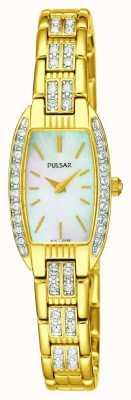 Pulsar Relógio em madrepérola branco em aço inoxidável em tom dourado para mulher PEGG76X1
