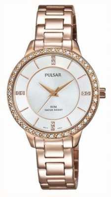 Pulsar Discagem de prata de aço inoxidável de ouro rosa das mulheres PH8220X1