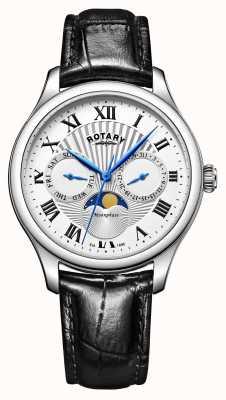 Rotary Mens moonphase pulseira de couro preto mostrador prateado GS05065/01