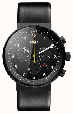 Braun Mens prestige chronograph pulseira de couro preto mostrador preto BN0095BKG