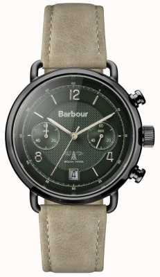 Barbour Mens pulseira de couro cáqui salisbury mostrador verde BB053GRKH