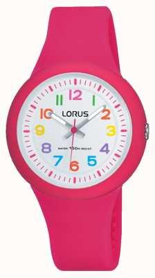 Lorus Dial de pulseira de borracha rosa unisex branco RRX49EX9