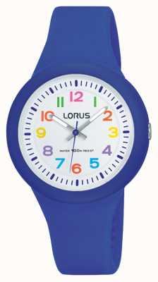 Lorus Unisex pulseira de borracha azul mostrador branco RRX45EX9
