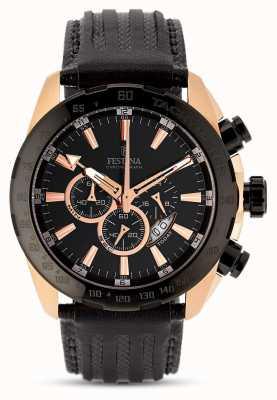Festina Mens rosa caso de ouro mostrador preto pulseira de couro preto chrono F16900/1