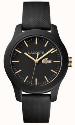 Lacoste Unisex 12.12 pulseira de borracha preta mostrador preto 2000959