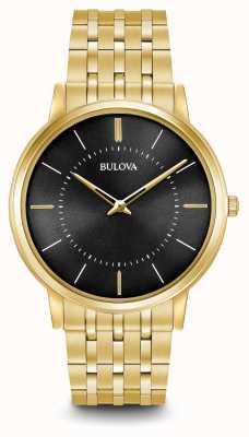 Bulova Mens ultra slim ouro tom de aço inoxidável mostrador preto 97A127