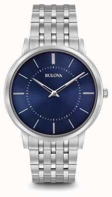 Bulova Mens ultra slim pulseira de aço inoxidável mostrador azul 96A188