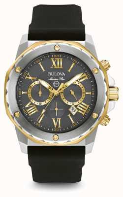 Bulova Bracelete de borracha preta estrela marinha para homem 98B277