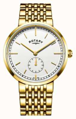 Rotary Mens canterbury ouro tom de aço inoxidável mostrador branco GB05062/02
