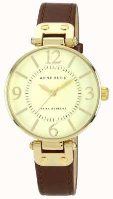 Anne Klein Mostrador de ouro pulseira de couro marrom das mulheres 10/N9168IVBN