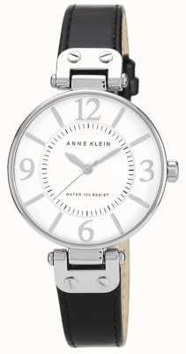 Anne Klein Mostrador preto pulseira de couro preto das mulheres 10/N9169WTBK