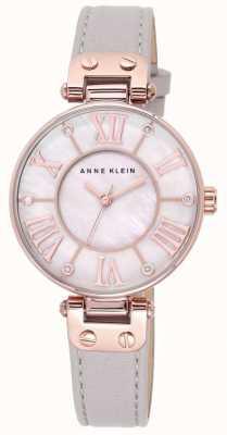 Anne Klein Mãe de pulseira de couro cinza das mulheres de discagem pérola 10/N9918RGTP