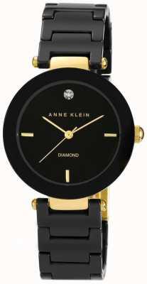 Anne Klein Mostrador preto pulseira de cerâmica preta das mulheres AK/N1018BKBK