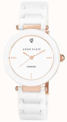 Anne Klein Mostrador branco pulseira de cerâmica branca das mulheres AK/N1018RGWT