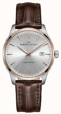Hamilton Mens jazzmaster pulseira de couro marrom mostrador prateado H32441551