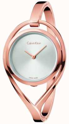 Calvin Klein Womens luz pequena rosa ouro tom prata pulseira de discagem K6L2S616