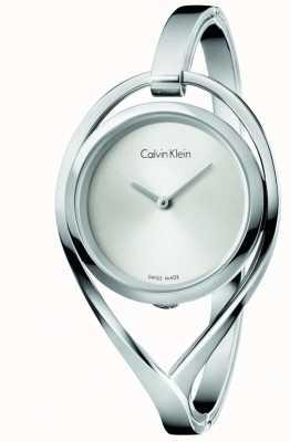 Calvin Klein Dial de prata de aço inoxidável médio das mulheres bangel K6L2M116