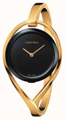 Calvin Klein Womens light pequeno tom dourado bangle discagem K6L2S411