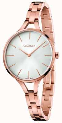 Calvin Klein Mostrador prateado para mulher com pulseira em tom de ouro K7E23646