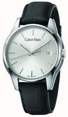 Calvin Klein Tom Mens pulseira de couro preto mostrador prateado K7K411C6