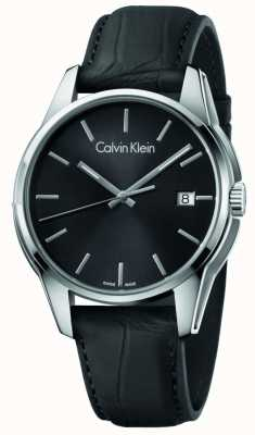 Calvin Klein Mens pulseira de couro preto tom preto K7K411C1