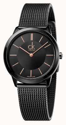 Calvin Klein Bracelete de malha preta mínima para mulher K3M22421