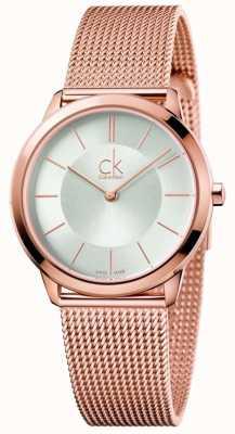 Calvin Klein Dial de ouro rosa malha feminina mínima de malha K3M22626