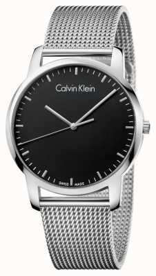 Calvin Klein Correia de malha de aço inoxidável cidade mens cinta preta K2G2G121