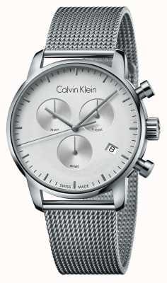 Calvin Klein Mostrador branco de aço inoxidável cronógrafo cidade mens K2G27126