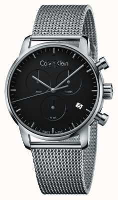 Calvin Klein Mens cronógrafo de cidade em aço inoxidável mostrador preto K2G27121