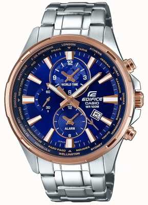 Casio Mens pulseira de aço inoxidável edifice pulseira azul EFR-304PG-2AVUEF