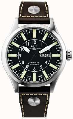 Ball Watch Company Mens engenheiro mestre ii empresa aviador couro automático NM1080C-L3-BK