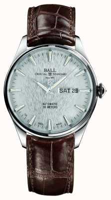 Ball Watch Company Trainmaster eternidade automático crockodile pulseira de discagem de prata NM2080D-LJ-SL