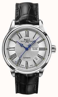 Ball Watch Company Correia crockodile romana automática Trainmaster mostrador branco NM1058D-L4J-WH