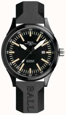 Ball Watch Company Fireman night train cinta de borracha automática mostrador preto NM2092C-P-BK
